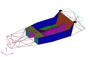 Generic spaceframe optimisation study using CAE tools to save 20kg. Please see our Services page for a full report.